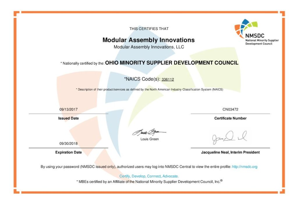 certification mbe assembly
